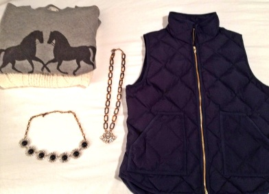 Pictured are two different tops I wear with the vest. The Factory sweatshirt and a fisherman sweater from Gap.