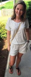 striped J. Crew Factory romper front