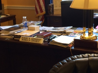 Our congressman's desk. Looks like a busy man.